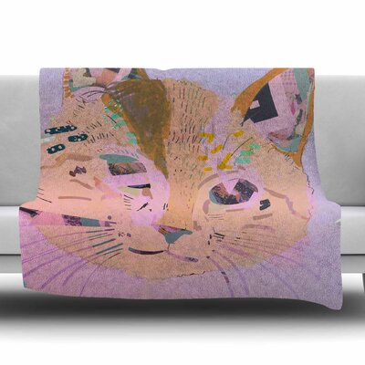 Psychedelic Cat by Vasare Nar Fleece Blanket Size: 80 L x 60 W