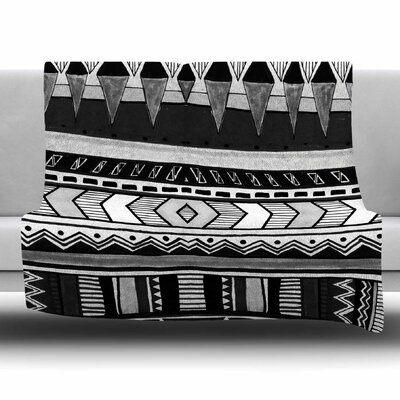 Black And White by Vasare Nar Fleece Blanket Size: 80 L x 60 W