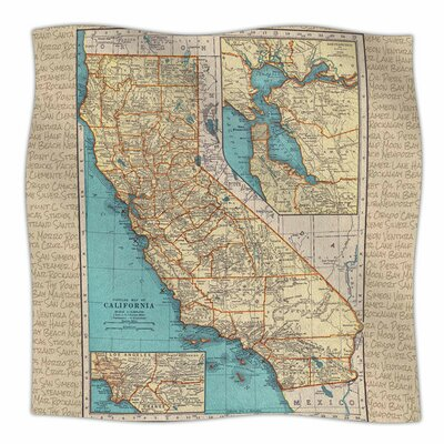 So Cal Surf Map by Catherine Holcombe Fleece Blanket Size: 80 L x 60 W