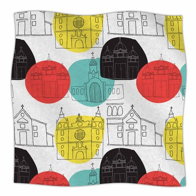Cartagena Churches by MaJoBV Fleece Blanket Size: 80'' L x 60'' W