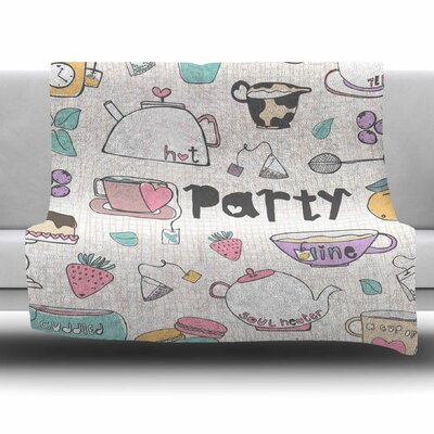 Tea Party by MaJoBV Fleece Blanket Size: 80 L x 60 W