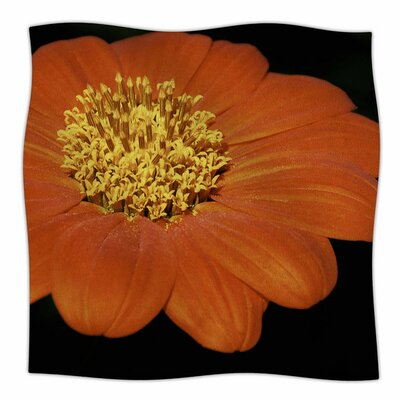 Open Wide Red Flower by Nick Nareshni Fleece Blanket Size: 80 L x 60 W
