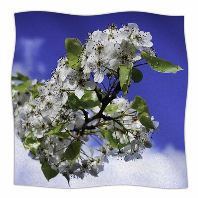 Cherry Blossoms And Blue Sky by Nick Nareshni Fleece Blanket Size: 80 L x 60 W