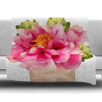 Peonies by Oriana Cordero Fleece Blanket Size: 80 L x 60 W