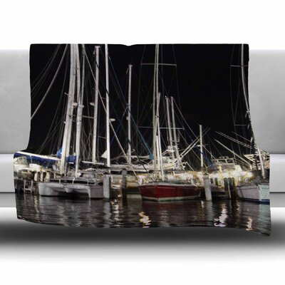Dinner Key Marina by Philip Brown Fleece Blanket Size: 80 L x 60 W