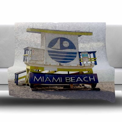 Miami Beach Lifeguard Stand by Philip Brown Fleece Blanket Size: 80 L x 60 W