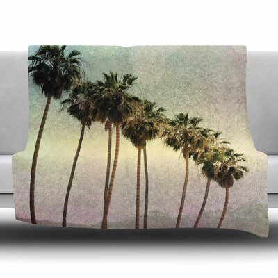 Palm Trees by Sylvia Coomes Fleece Blanket Size: 80 L x 60 W