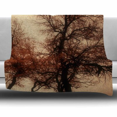 Rust Trees by Sylvia Coomes Fleece Blanket Size: 80 L x 60 W