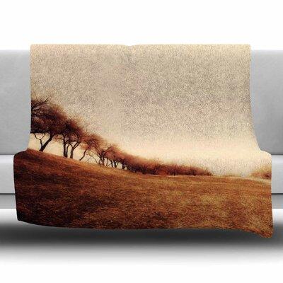 Minimalist Autumn Landscape by Sylvia Coomes Fleece Blanket Size: 80 L x 60 W