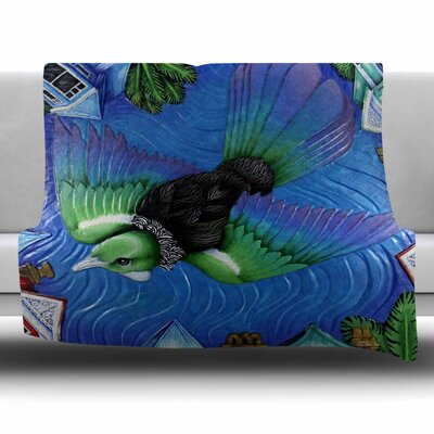 Tui Flying in Pacific Skies by Vinny Thompson Fleece Blanket Size: 80 L x 60 W