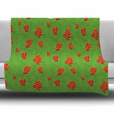 Heliconia by Yenty Jap Fleece Blanket Size: 80 L x 60 W