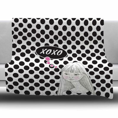 XOXO Pop Art Polka Dot Girl by Zara Martina Mansen Fleece Blanket Size: 80 L x 60 W