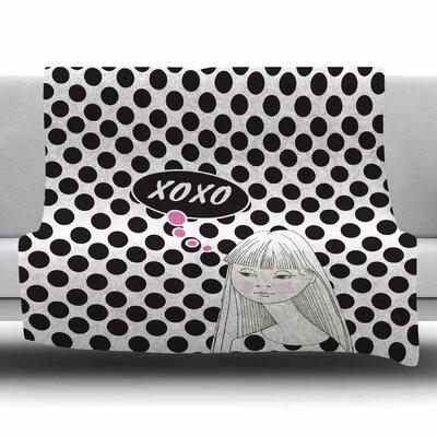 XOXO Pop Art Polka Dot Girl by Zara Martina Mansen Fleece Blanket Size: 80 L x 60 W