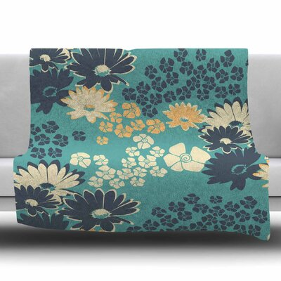 Teal Color Bouquet by Zara Martina Mansen Fleece Blanket Size: 80 L x 60 W