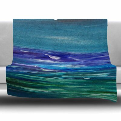 Moonlit Waves by Cyndi Steen Fleece Blanket Size: 80 L x 60 W