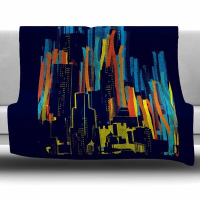 Strippy City by Frederic Levy-Hadida Fleece Blanket Size: 80 L x 60 W