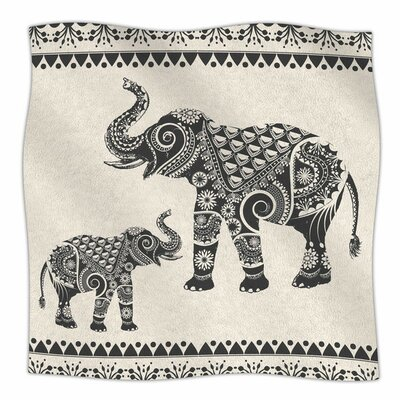 Ornate Indian Elephant-Boho by Famenxt Fleece Blanket Size: 80 L x 60 W
