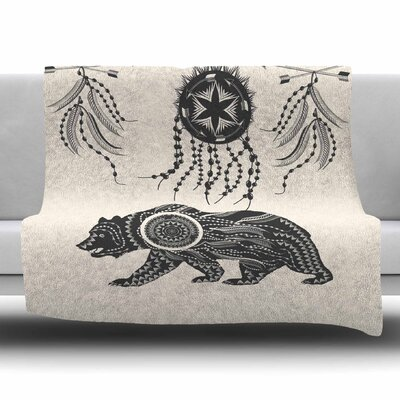 Boho Ornate Bear by Famenxt Fleece Blanket Size: 80 L x 60 W