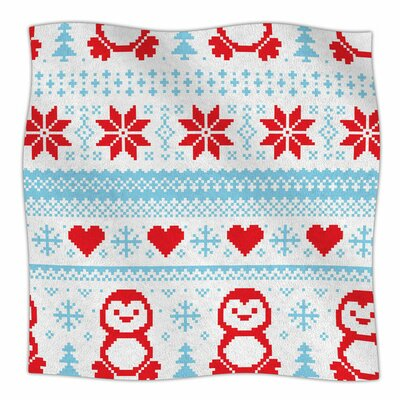 Pixel Penguin Holiday Fleece Blanket Size: 80 L x 60 W