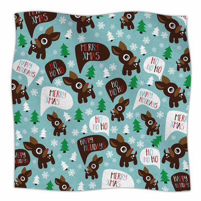 Cheerful Reindeer Fleece Blanket Size: 80 L x 60 W