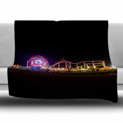Santa Monica Pier by Juan Paolo Fleece Blanket Size: 80'' L x 60'' W