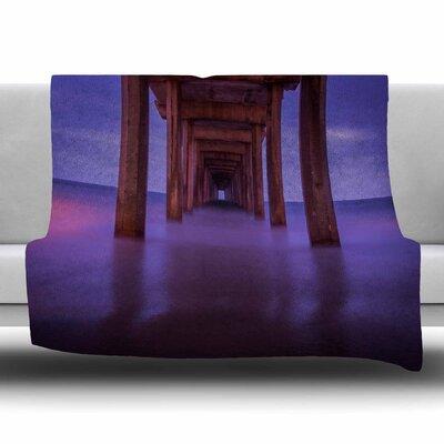 Scripps Pier by Juan Paolo Fleece Blanket Size: 80 L x 60 W