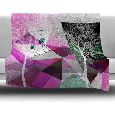 FLAMINGO P22 by Pia Schneider Fleece Blanket Size: 80 L x 60 W