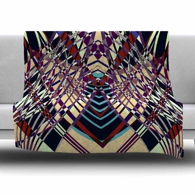 SWEEPING LINE PATTERN I-E by Pia Schneider Fleece Blanket Size: 80 L x 60 W