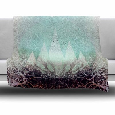 TREES Under MAGIC MOUNTAINS VI by Pia Schneider Fleece Blanket Size: 80 L x 60 W