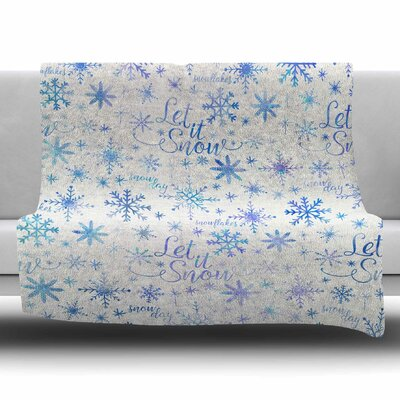 Let It Snow Winter Pattern by Noonday Design Fleece Blanket Size: 80 L x 60 W