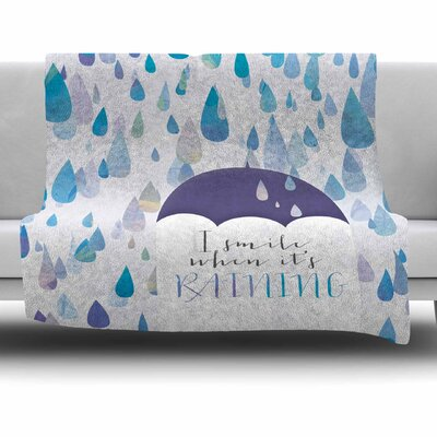 I Smile When Its Raining by Noonday Design Fleece Blanket Size: 40 L x 30 W