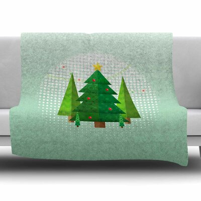 Geometric Christmas Tree by Noonday Design Fleece Blanket Size: 80 L x 60 W