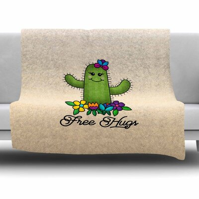 Free Hugs Cactus by Noonday Design Fleece Blanket Size: 40 L x 30 W