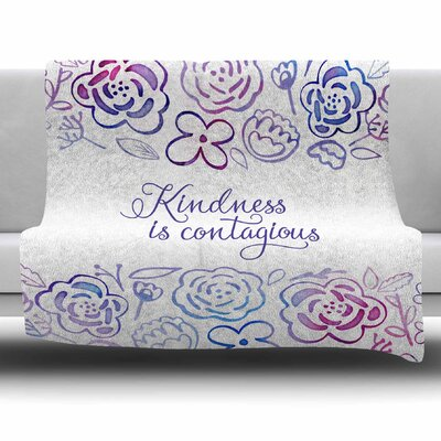 Kindness Is Contagious by Noonday Design Fleece Blanket Size: 80 L x 60 W