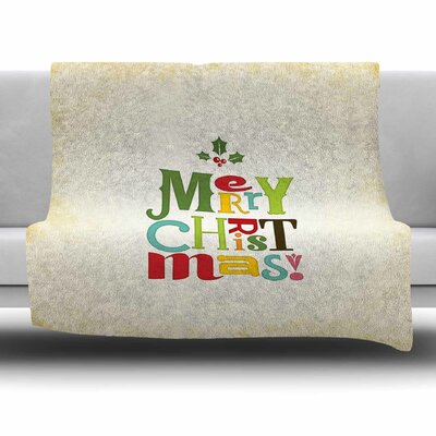 Merry Christmas by Noonday Design Fleece Blanket Size: 80 L x 60 W