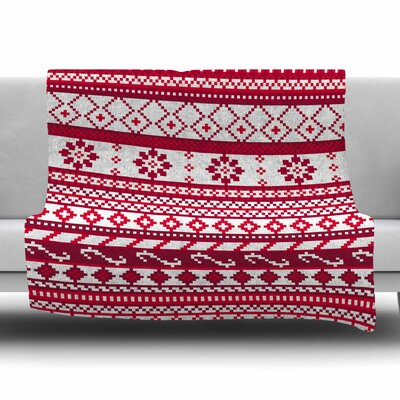 Fairisle Christmas Pattern by Noonday Design Fleece Blanket Size: 80 L x 60 W