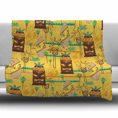 Surfing Tiki by Jane Smith Fleece Blanket Size: 80 L x 60 W