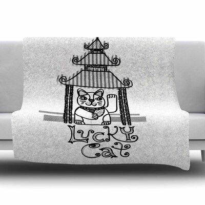Lucky Cat by Jane Smith Fleece Blanket Size: 80 L x 60 W