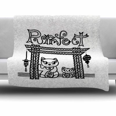 Purrfect by Jane Smith Fleece Blanket Size: 80 L x 60 W