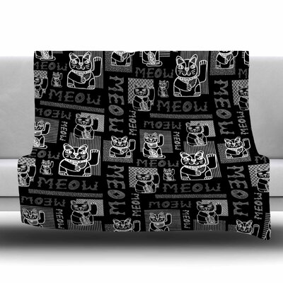 Meow Repeat by Jane Smith Fleece Blanket Size: 80 L x 60 W