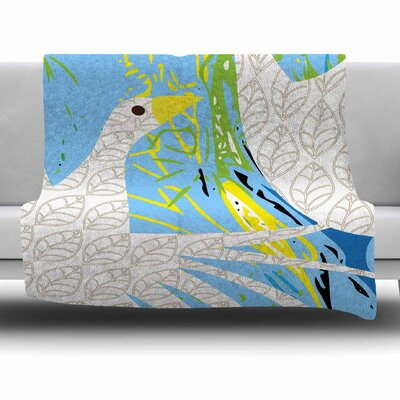 Pond Birds by Patternmuse Fleece Blanket Size: 80 L x 60 W