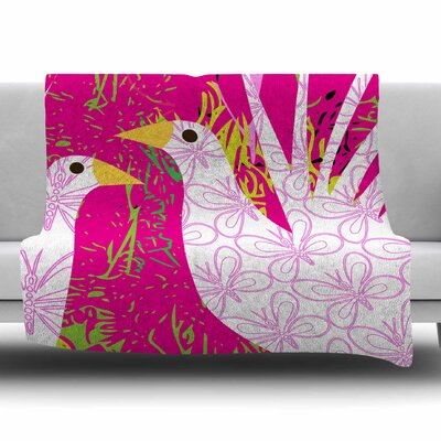 Fruit Birds by Patternmuse Fleece Blanket Size: 80 L x 60 W