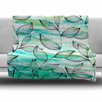 Tropical Leaf Garden by Jessica Wilde Fleece Blanket Size: 80 L x 60 W
