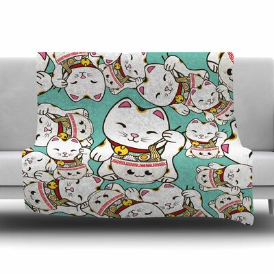 Ramen Cats by Juan Paolo Fleece Blanket Size: 80 L x 60 W