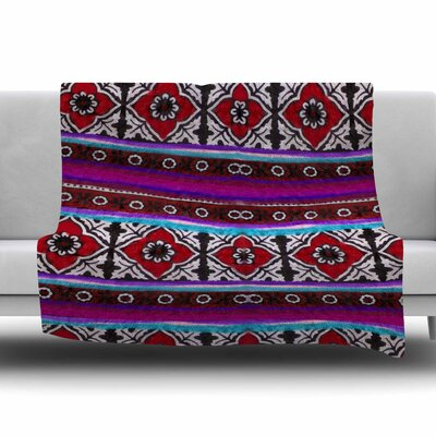 SINDHI AJRAK by S. Seema Z Fleece Blanket Size: 80 L x 60 W