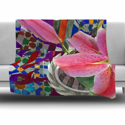 Lily Explosion by S. Seema Z Fleece Blanket Size: 80'' L x 60'' W