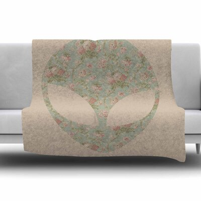 Floral Alien by Alias Fleece Blanket Size: 80 L x 60 W