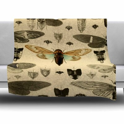 Vintage Cicada by Suzanne Carter Fleece Blanket Size: 80 L x 60 W