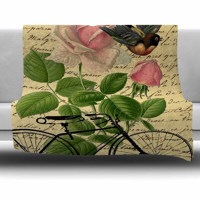 Vintage Cycle by Suzanne Carter Fleece Blanket Size: 80 L x 60 W