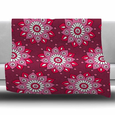 Raspberry Flower Burst by Sarah Oelerich Fleece Blanket Size: 80 L x 60 W